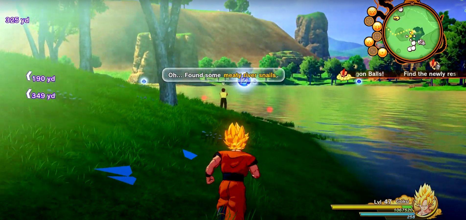 Dragon Ball Z Kakarot Meaty River Snails Locations Guide