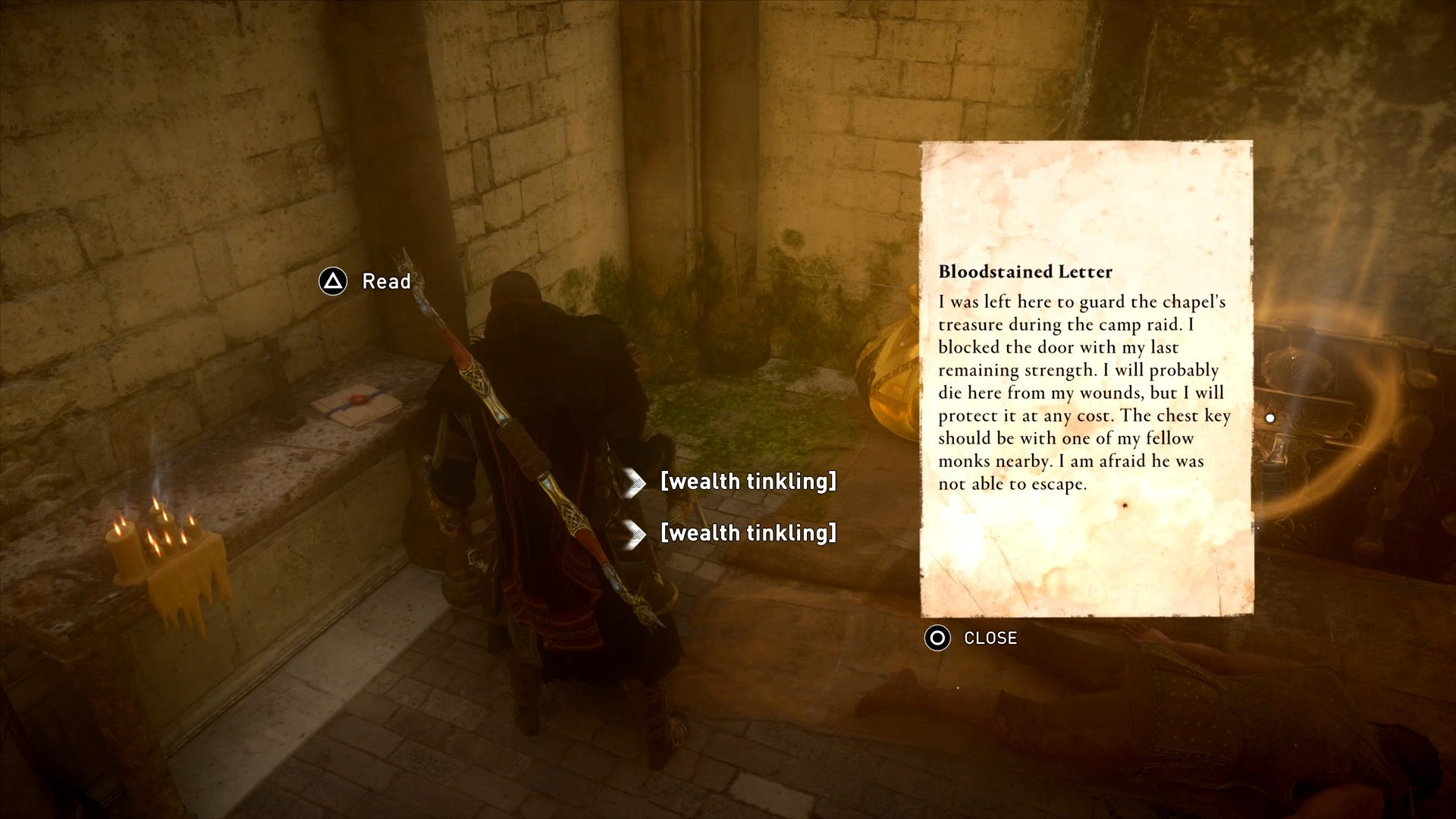 Assassin's Creed Valhalla Cent Bloodstained Letter