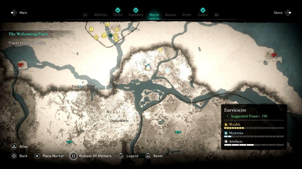Assassin's Creed Valhalla Eurviscire Treasure Hoard Map