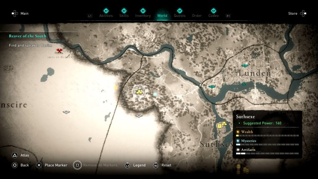 Assassin's Creed Valhalla Suthsexe Hoard Map Location
