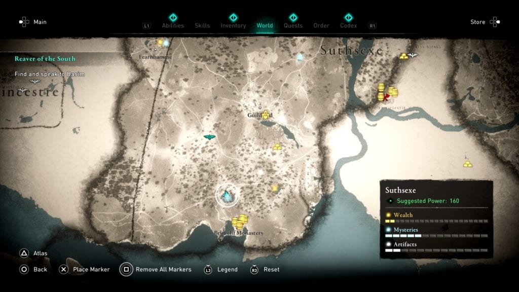 Assassin's Creed Valhalla Suthsexe Treehouse Shoppe Hoard Map Location