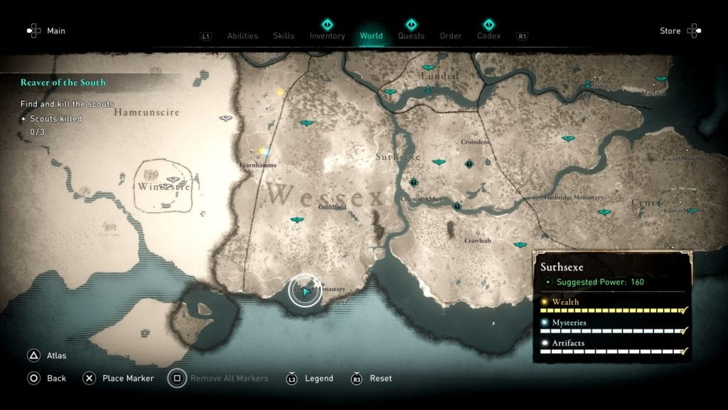Assassin's Creed Valhalla Suthsexe Treehouse Shoppe Hoard Treasure Location