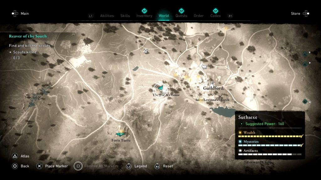 Assassin's Creed Valhalla Suthsexe Witch's House Hoard Map Location