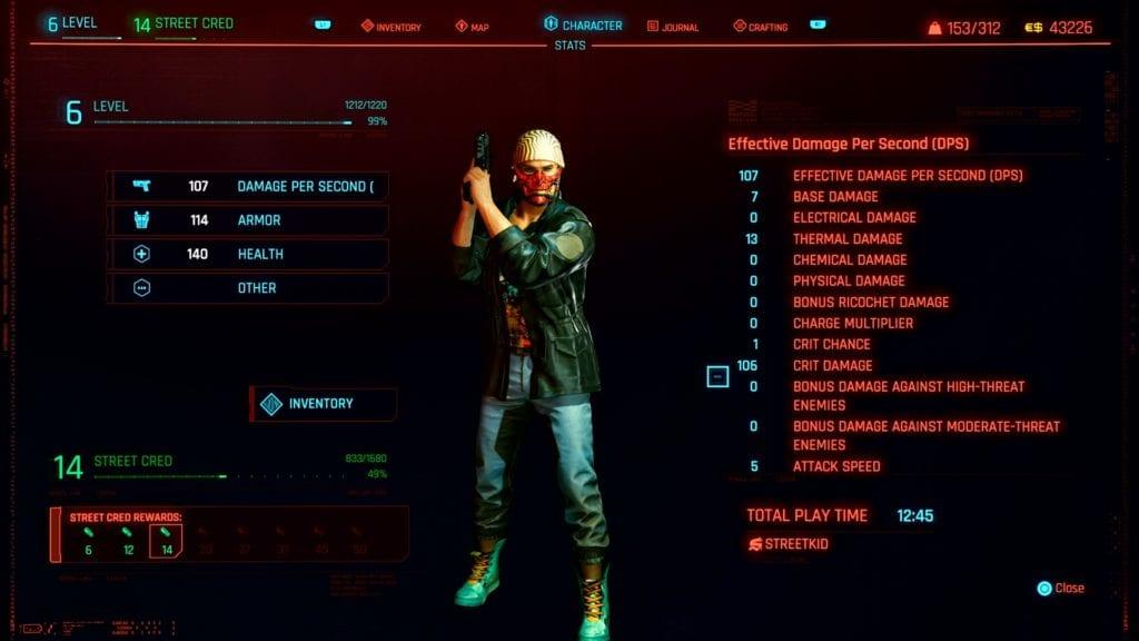 Cyberpunk 2077 Maximum Street Cred Level
